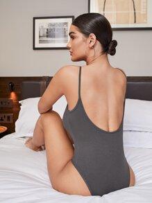 Open Back Rib-knit Cami Bodysuit