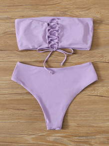 Plus Lace-up Back Bandeau Bikini Swimsuit