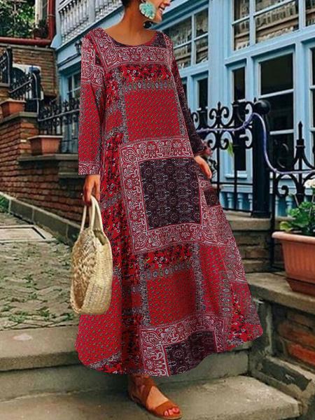 Milanoo Vestidos largos Mangas largas Cuello joya rojo Poliester Hasta el suelo Vestido