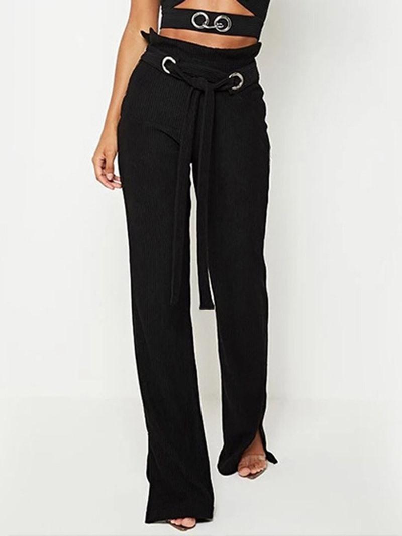 Ericdress Plain Lace-Up Slim Full Length High Waist Casual Pants