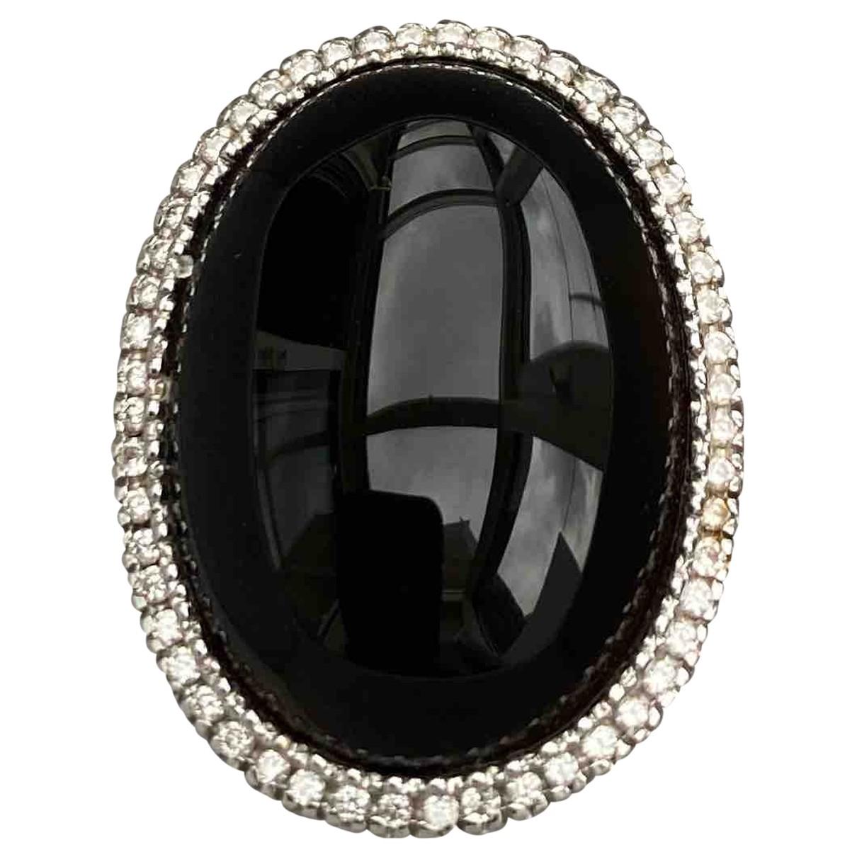 - Bague Onyx pour femme en or blanc - noir