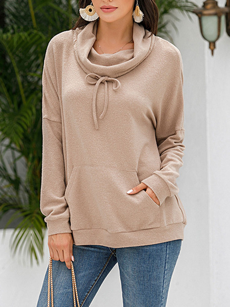 Milanoo Hoodie For Woman Apricot Long Sleeves Polyester hooded sweatshirt