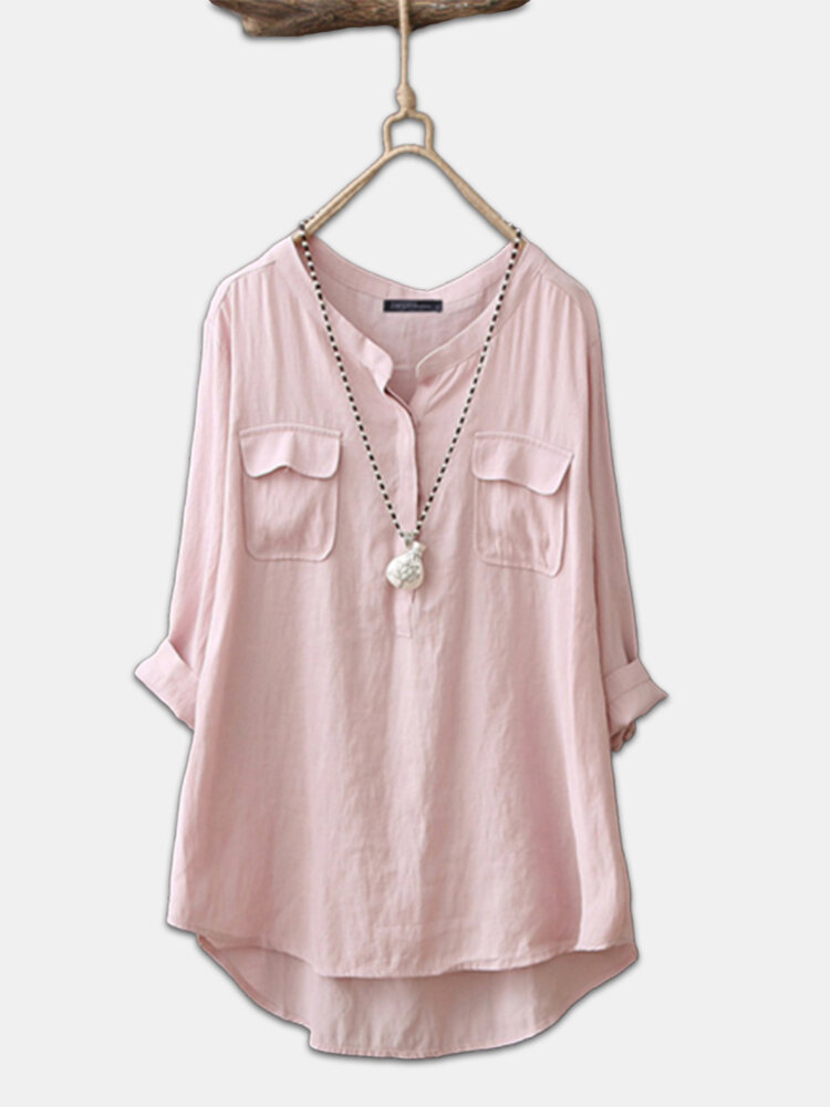 Casual Solid Color Long Sleeve Plus Size Cotton Shirt