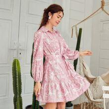 Flippy Hem Belted Paisley Print Shirt Dress