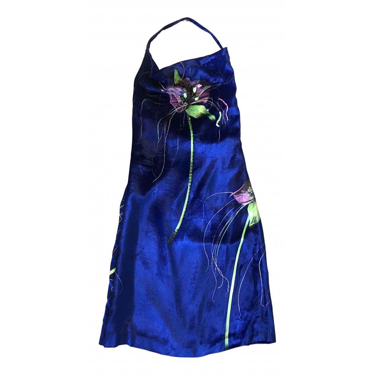 Versace - Robe   pour femme en velours - bleu