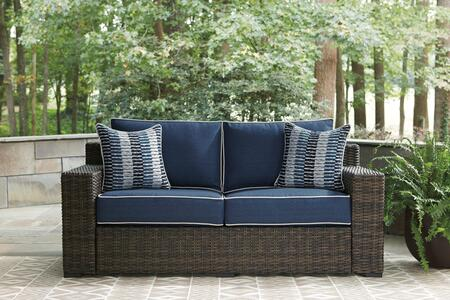 Grasson Lane Collection P783-835 Outdoor Loveseat with Cushion  All-Weather Resin Wicker  and Rust-Proof Aluminum Frame in Brown and