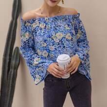 Allover Floral Print Bell Sleeve Frill Bardot Top