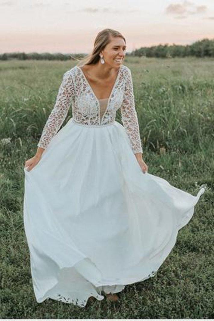 Ericdress Lace Long Sleeves Beach Wedding Dress