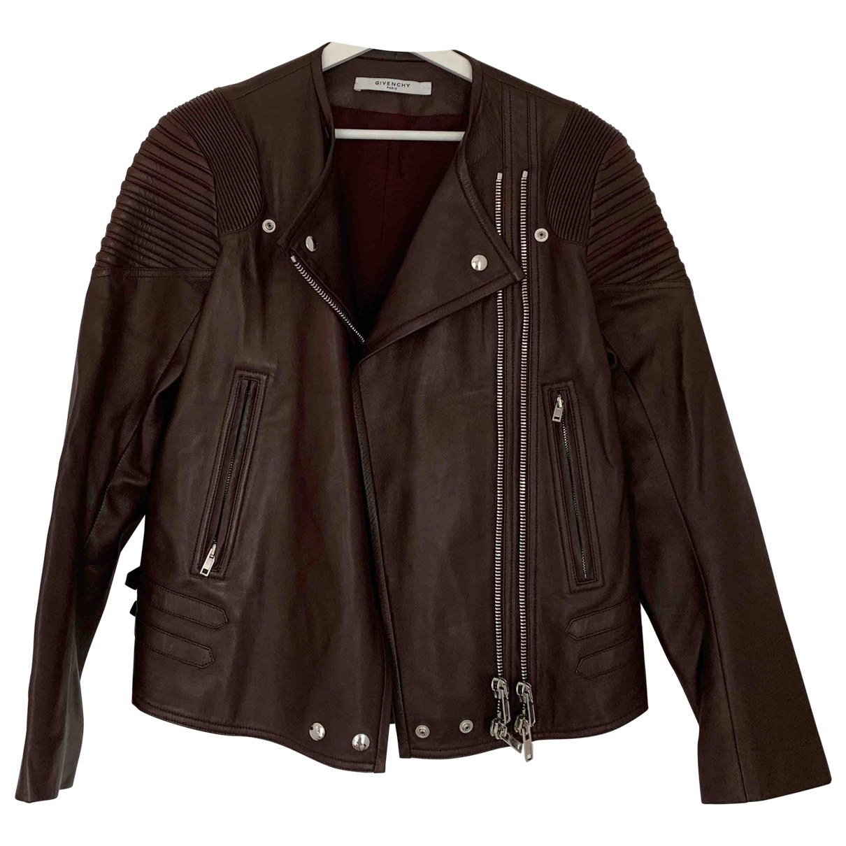 Givenchy \N Burgundy Leather Leather jacket for Women 38 FR
