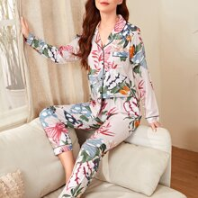 Schlafanzug Set mit Schmetterling & Pflanzen Muster