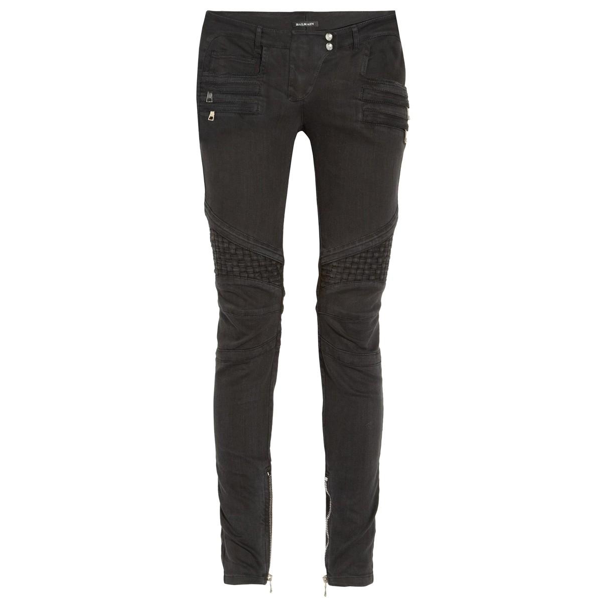Balmain \N Black Cotton Trousers for Women 38 FR