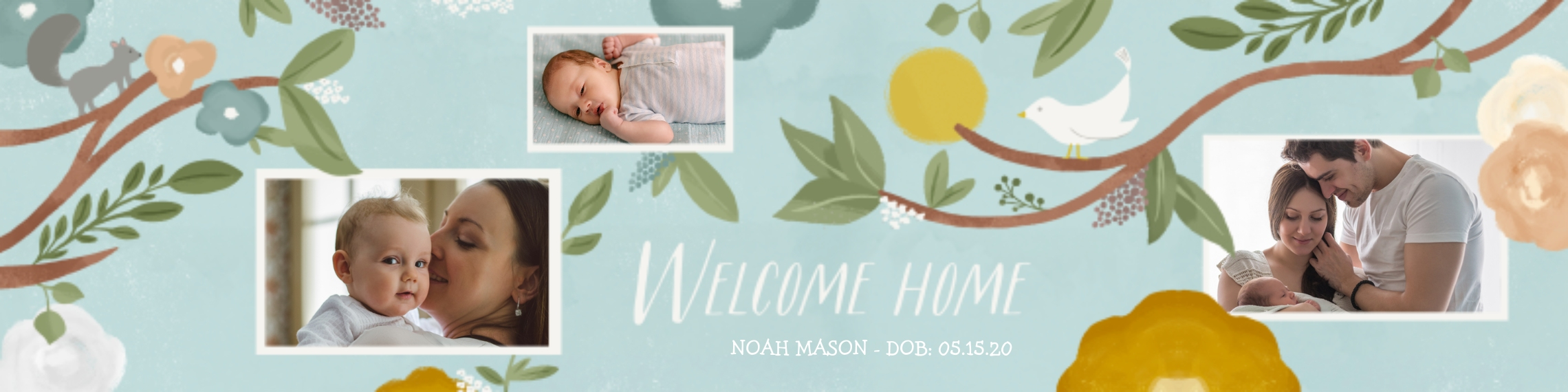 Baby + Kids 2x8 Adhesive Banner, Home Décor -Watercolor Welcome