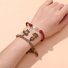 2 Stuecke Armband mit Schildkrote Dekor