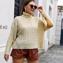 Plus Turtleneck Cable Knit Split Sleeve Sweater
