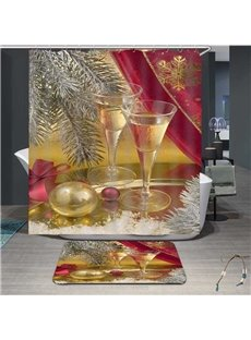 3D Festival Decoration Christmas Wine Glass Painted Water-proof Bathroom Shower Curtain