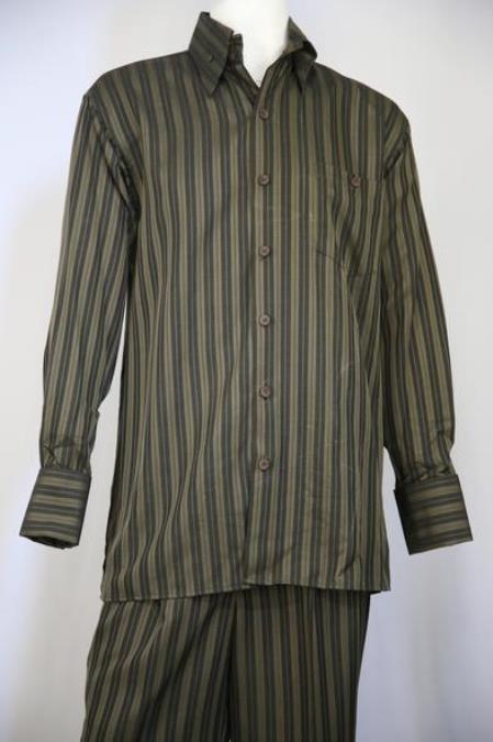 Mens Classic Stripe Walking Suit Olive 2pc Zoot Suit
