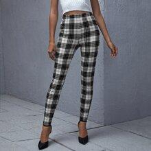 Schmale Hose mit hoher Taille und Karo Muster