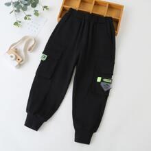 Boys Flap Pocket Patched Sweatpants