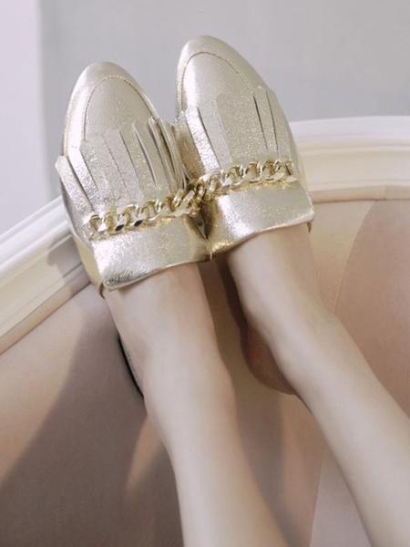 Milanoo Zuecos de mujer Zuecos Zapatos sin cordones de punta de plata de cuero de PU