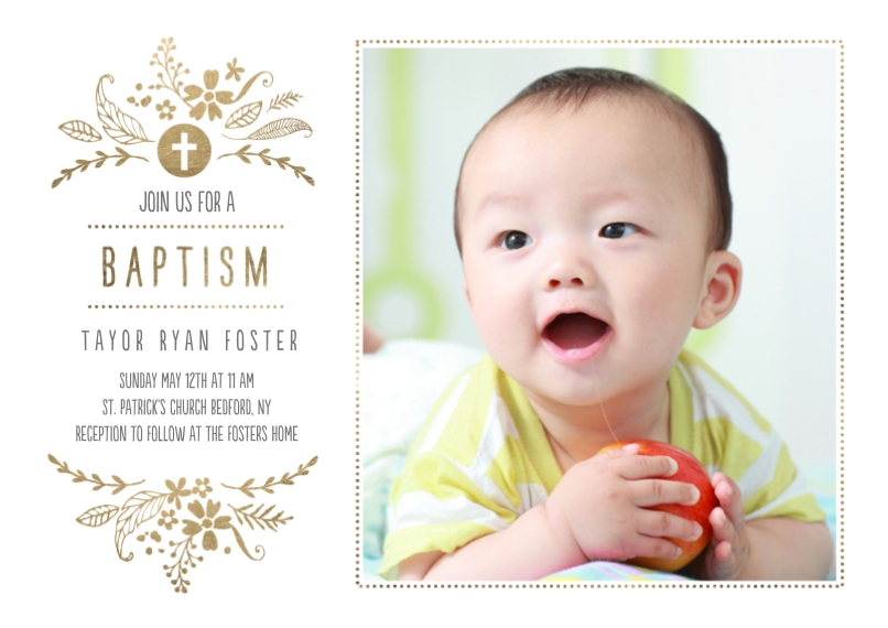 Baptism Invitations 5x7 Cards, Premium Cardstock 120lb with Elegant Corners, Card & Stationery -Baptism Foliage Arch
