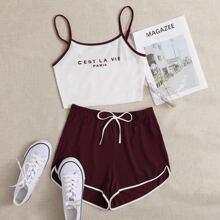 Cami Top mit Buchstaben Grafik & Delphin Shorts Set mit Kontrast Bindung