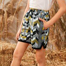 Shorts mit Band vorn und Stamm Muster
