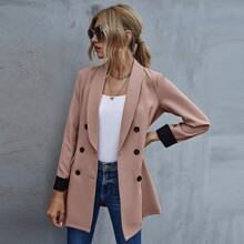 Colorblock Double Breasted Blazer