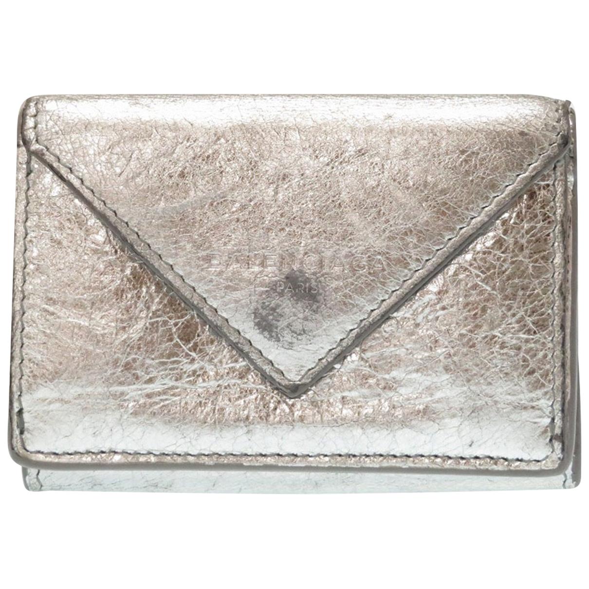 Balenciaga - Portefeuille   pour femme en cuir - argente