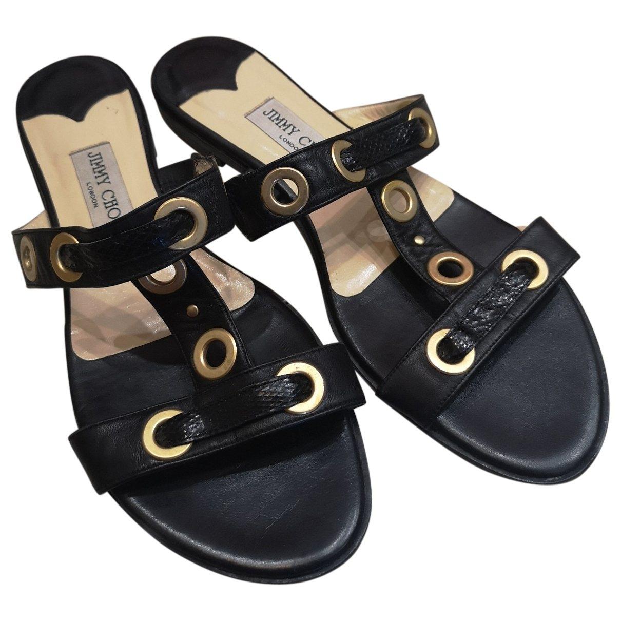 Jimmy Choo \N Black Leather Mules & Clogs for Women 40.5 EU
