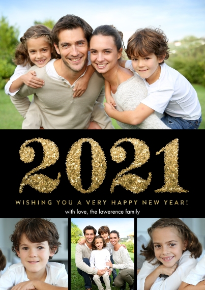 New Year's Photo Cards 5x7 Cards, Premium Cardstock 120lb, Card & Stationery -2021 New Year Glitter by Tumbalina