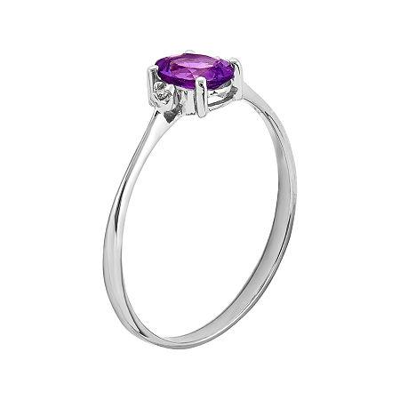Genuine Purple Amethyst Diamond-Accent 14K White Gold Ring, 7 , No Color Family