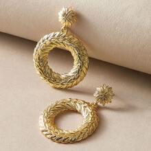 1 Paar Blatt Design runde Ohrringe