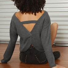 Jersey tejido de canale de espalda girante con abertura