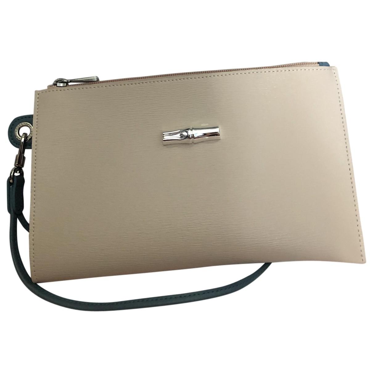 Longchamp - Pochette   pour femme en cuir - beige