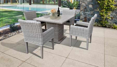Coast Collection COAST-SQUARE-KIT-4DCC-BLACK Patio Dining Set with 1 Table   4 Arm Chairs - Beige and Black