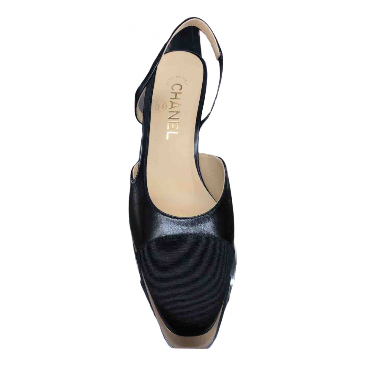Chanel Slingback Black Leather Heels for Women 38 EU