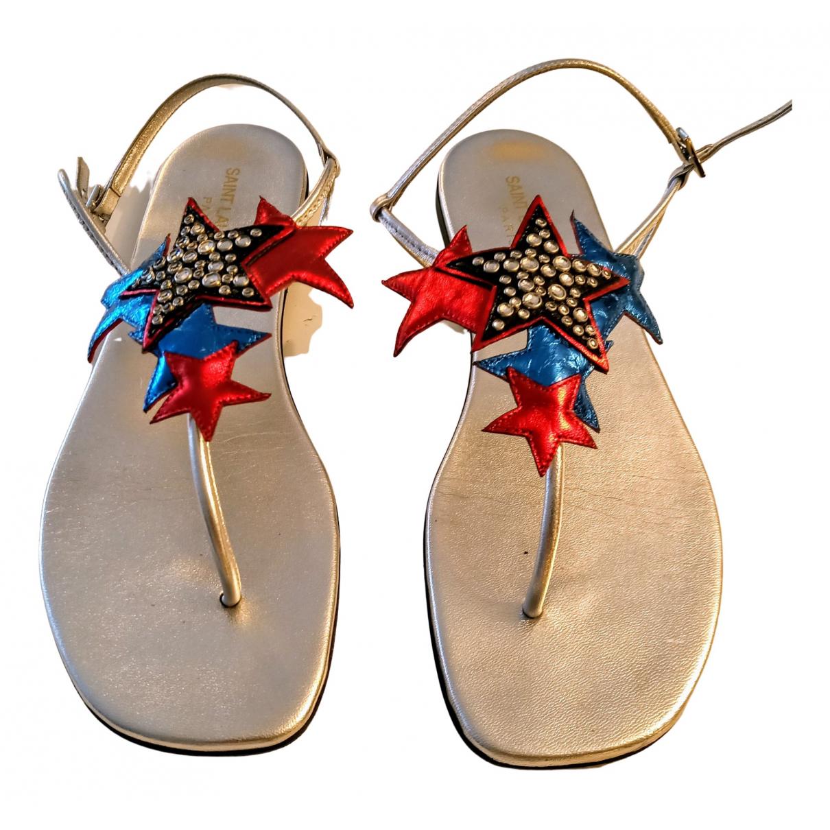 Saint Laurent \N Silver Leather Sandals for Women 38 EU