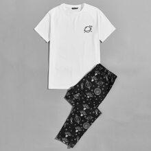 T-Shirt mit kurzen Ärmeln & Hose mit Galaxie Muster Schlafanzug Set