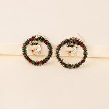 Runde Ohrringe mit Weihnachten Hirsch Anhaenger