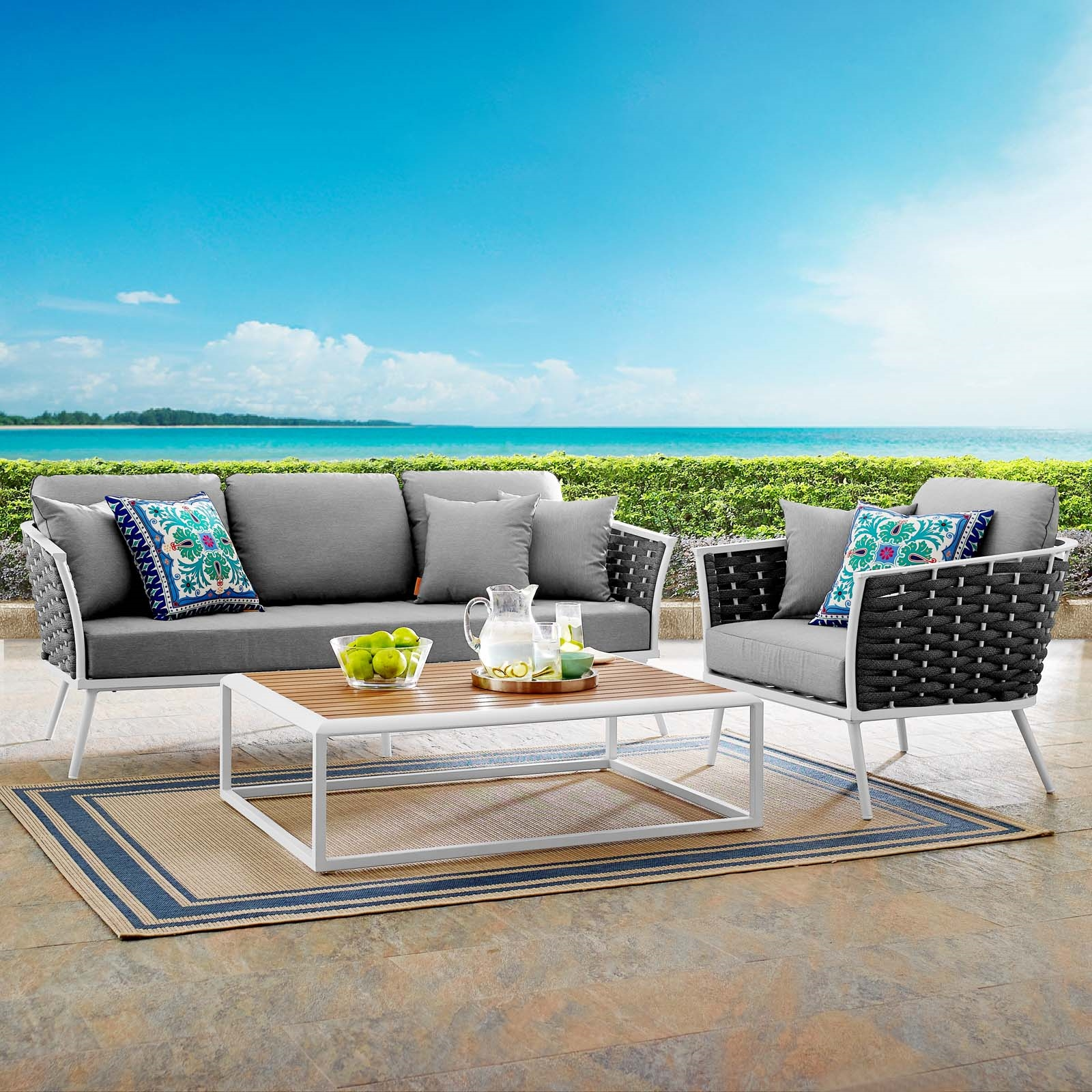 Stance 3 Piece Outdoor Patio Aluminum Sectional Sofa Set in White Gray