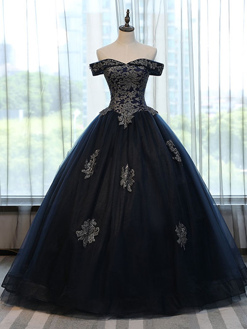 Ericdress Off The Shoulder Applique Quinceanera Ball Gown