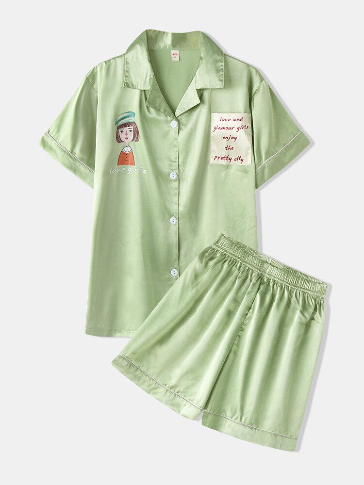 Women Print Faux Silk Pajamas Short Set Two Pieces Smooth Lapel Collar Sleepwear