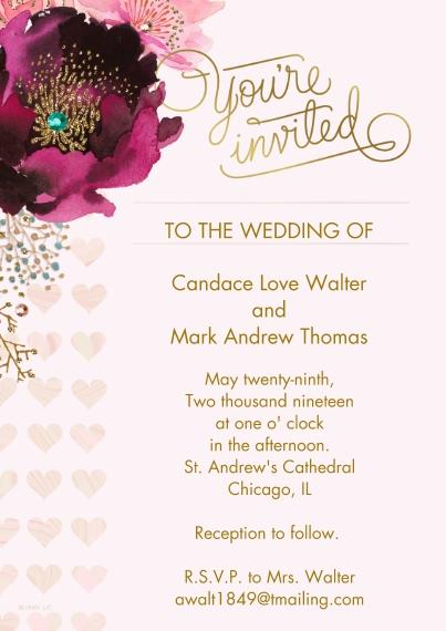 Wedding Invitations Flat Matte Photo Paper Cards with Envelopes, 5x7, Card & Stationery -Elegant Purple & Pink Floral Wedding Invitation by Hallmark (