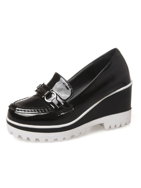 Milanoo Golden Loafer Shoes Metal Buckled Round Toe Color Block Slip On Wedge High Heel Shoes