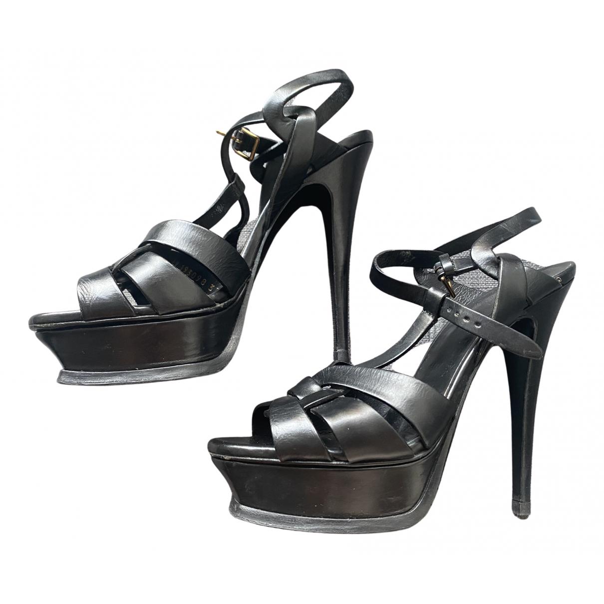 Yves Saint Laurent - Sandales Tribute pour femme en cuir - noir