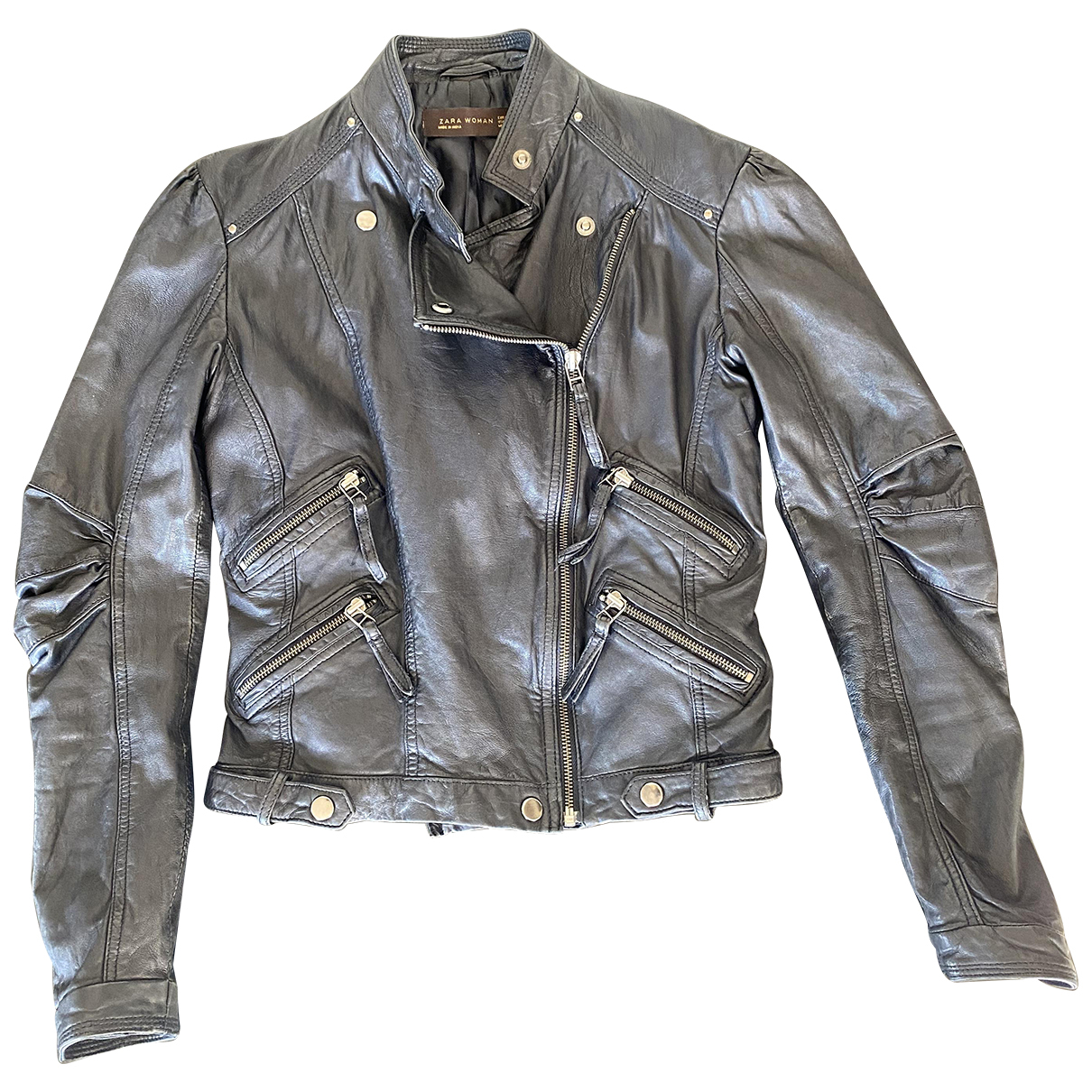 Zara N Black Leather Leather jacket for Women M International