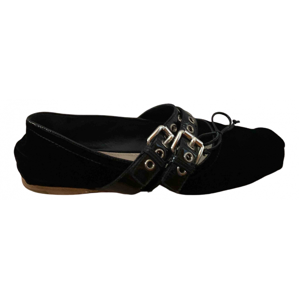 Miu Miu N Black Velvet Ballet flats for Women 37.5 EU