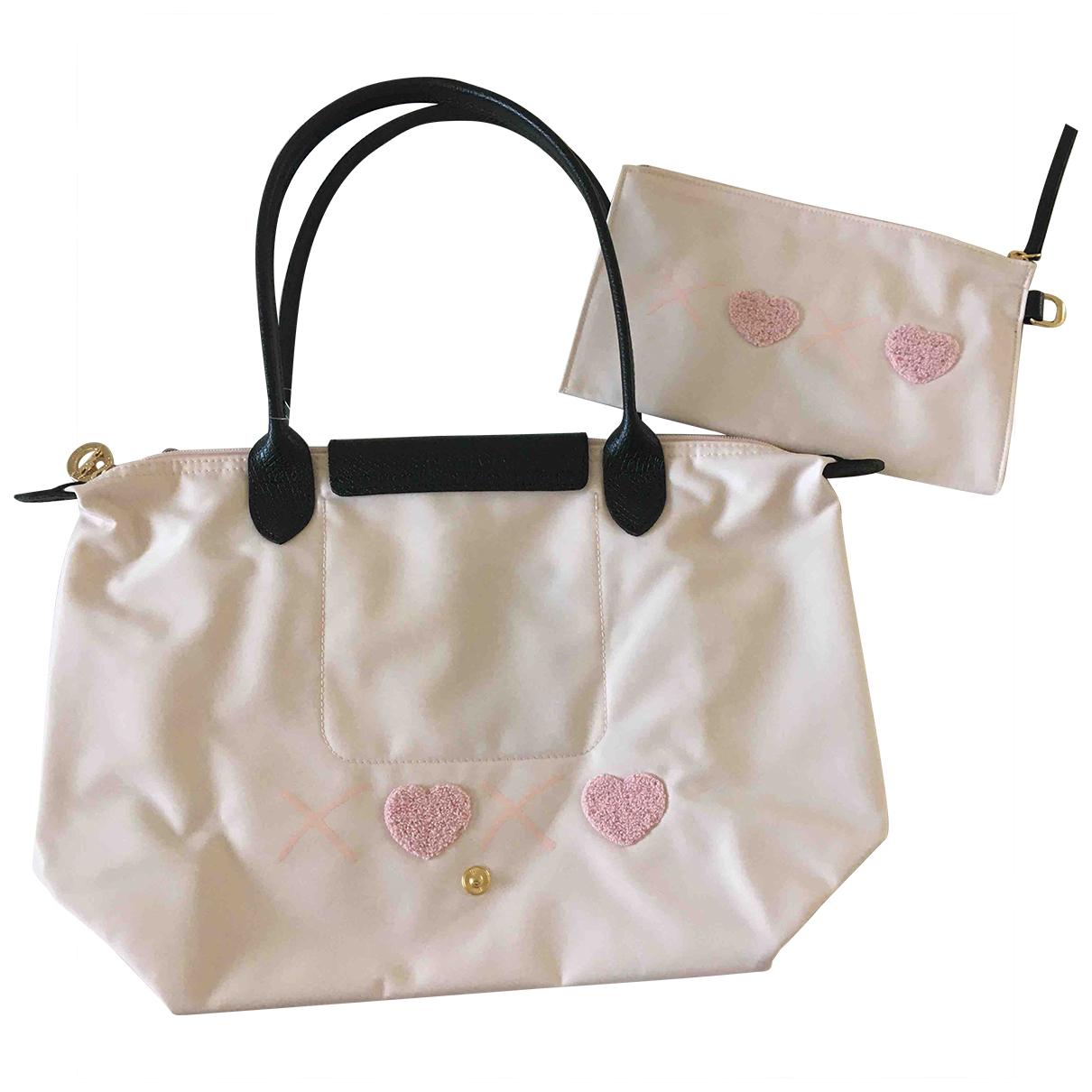 Longchamp Pliage  Handtasche in  Schwarz Leinen