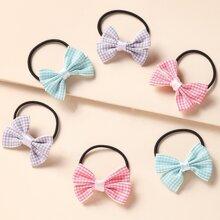 6pcs Toddler Girls Bow Hair Tie