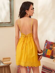 Ruched Bust Lace Insert Tied Backless Schiffy Slip Dress